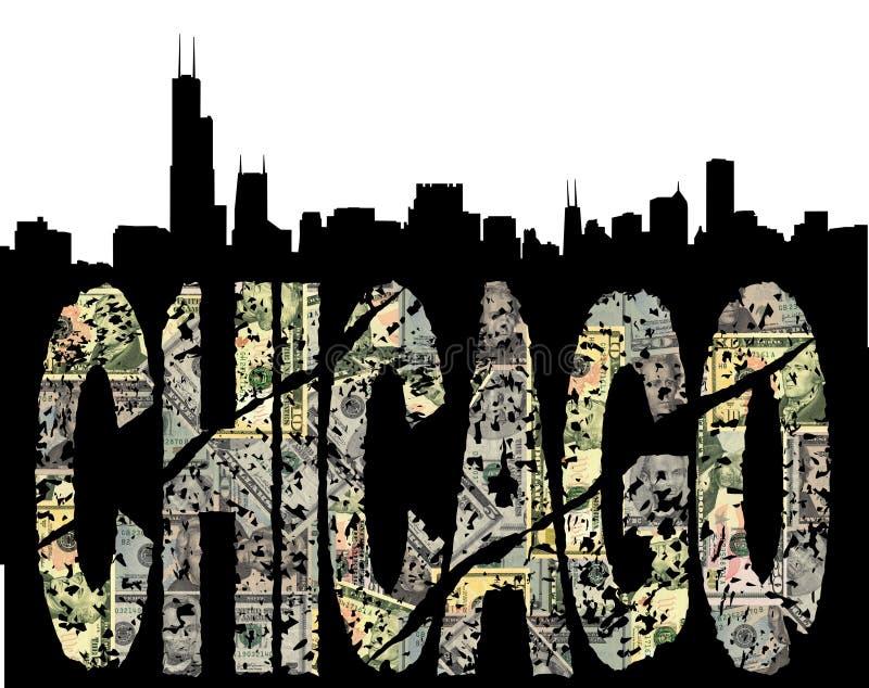 Chicago grunge Dollar mit Skylinen lizenzfreie abbildung