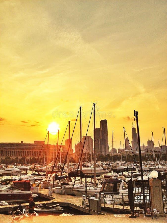 Chicago hamnar royaltyfri foto