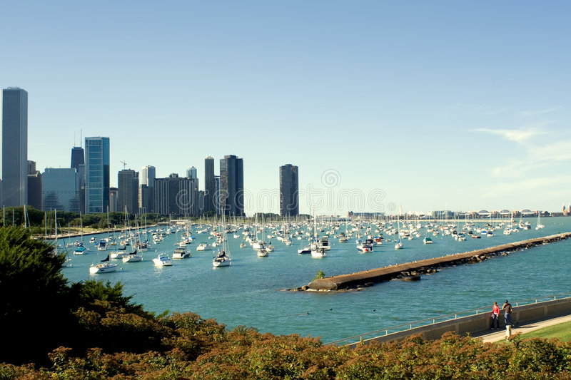 Chicago Harbor and Navy Pier royalty free stock photo