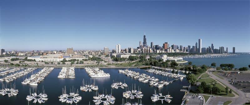 Chicago harbor with skyline on Lake Michigan stock photo