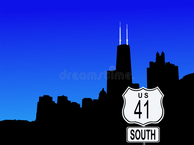 Chicago With Highway 41 Sign Royalty Free Stock Images