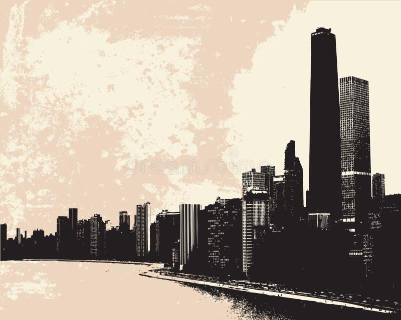 chicago horisont vektor illustrationer