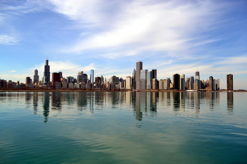Chicago horisont royaltyfria bilder