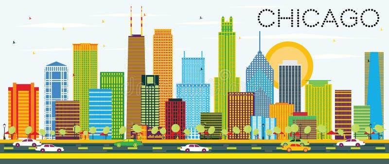 Chicago horisont med färgbyggnader royaltyfri illustrationer