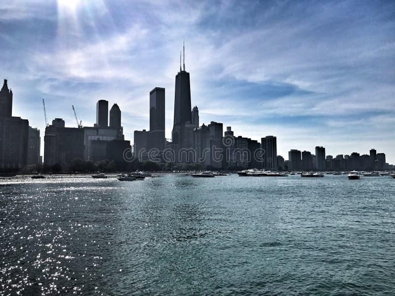 Chicago horisont Sommartid i Chicago arkivfoton