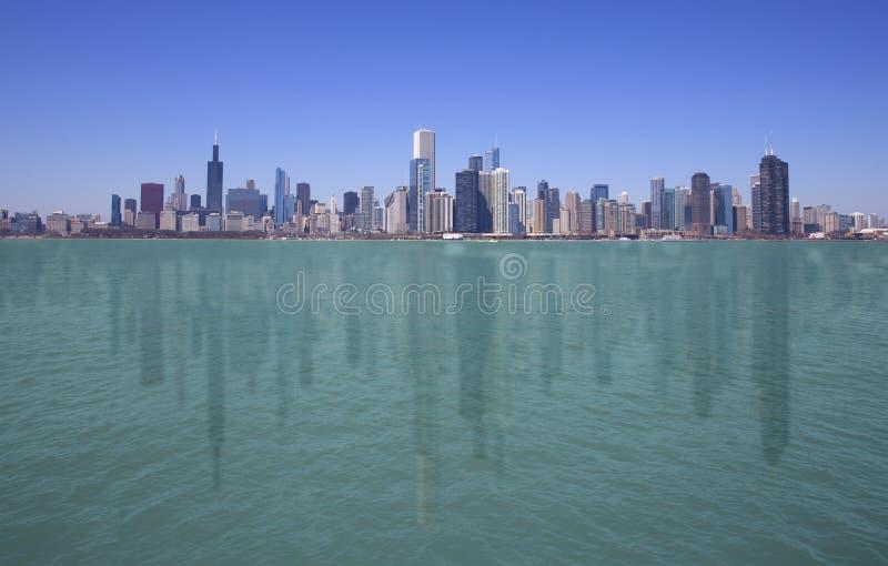 chicago i stadens centrum horisont royaltyfri fotografi