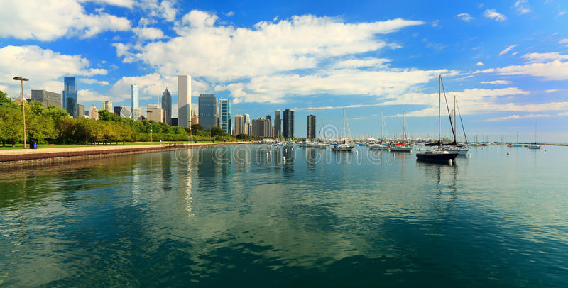 chicago i stadens centrum lakeshore trail royaltyfria foton