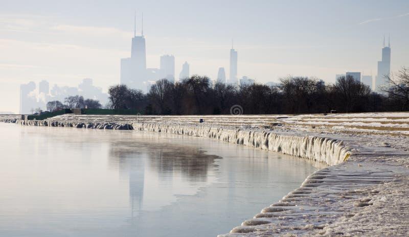 chicago icy morgon royaltyfri fotografi