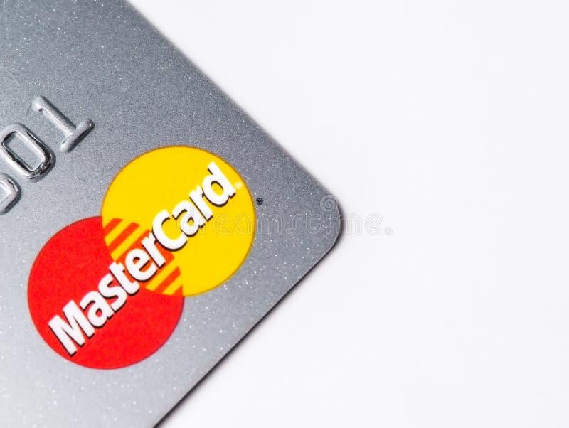 Chicago, IL, de V.S., februari-12.2017, sluit omhoog van een Master CardCreditcard voor redactie slechts gebruik royalty-vrije stock foto