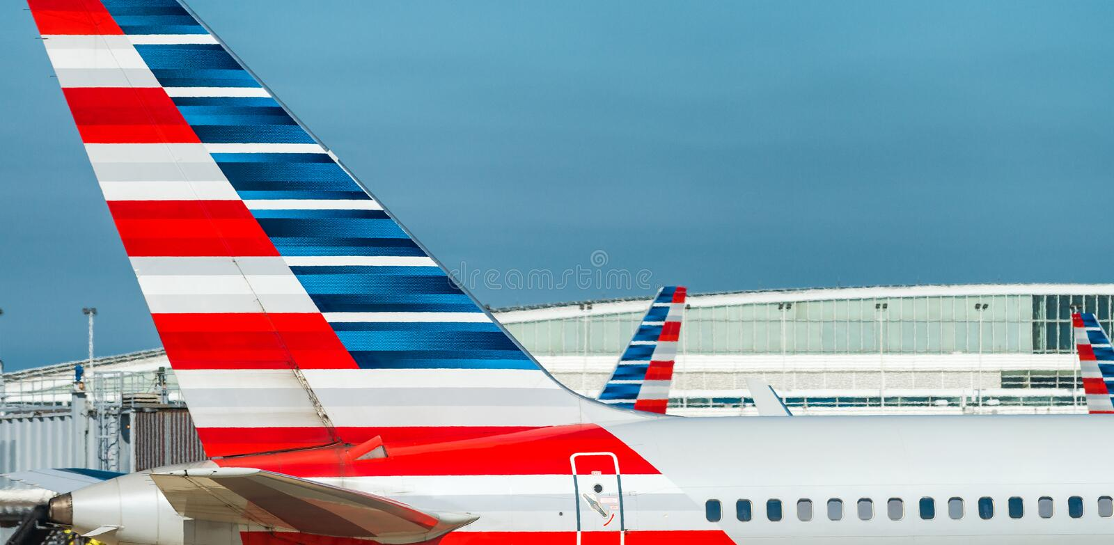 CHICAGO, IL - 27 JULI, 2017: American Airlines-vliegtuig op airp royalty-vrije stock fotografie