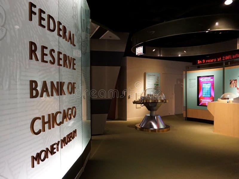 CHICAGO, IL, U S a , IL 25 MAGGIO 2018: Una vista dal museo dei soldi della banca centrale federale di Chicago immagini stock