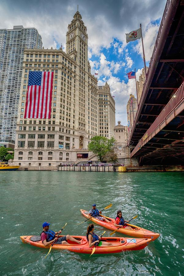 Chicago, IL United States - Augustl 09, 2017: Summer kayakers royalty free stock photo