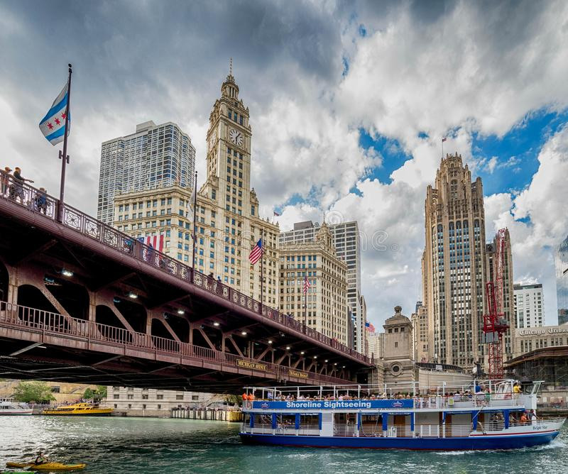 Chicago, IL United States - July 03, 2017: Tourist boat on the. Chicago River among the skyline stock images