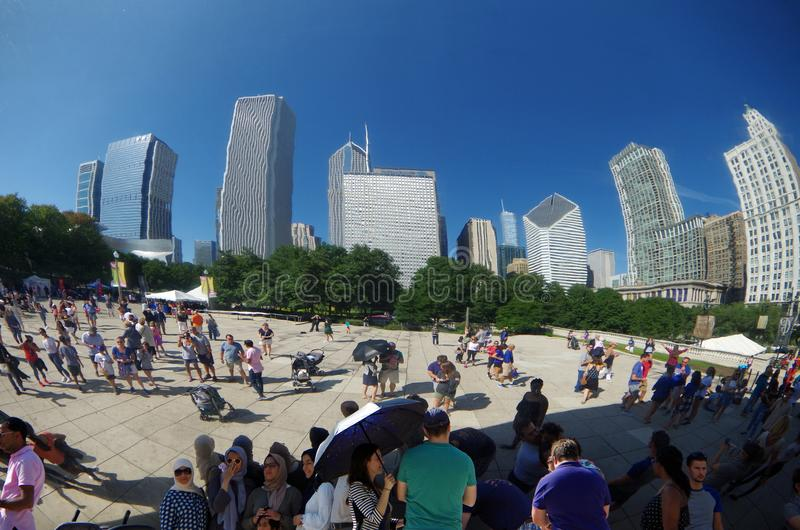 Chicago, IL, United States - September 3, 2017: Cloud Gate in Chicago`s Millennium Park. royalty free stock images