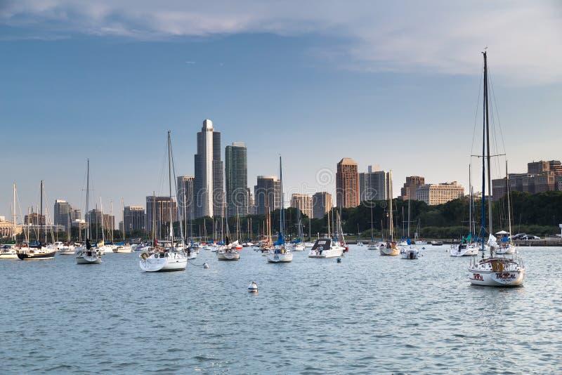 Chicago, IL/USA - vers en juillet 2015 : Yachts Chicago, l'Illinois photographie stock libre de droits