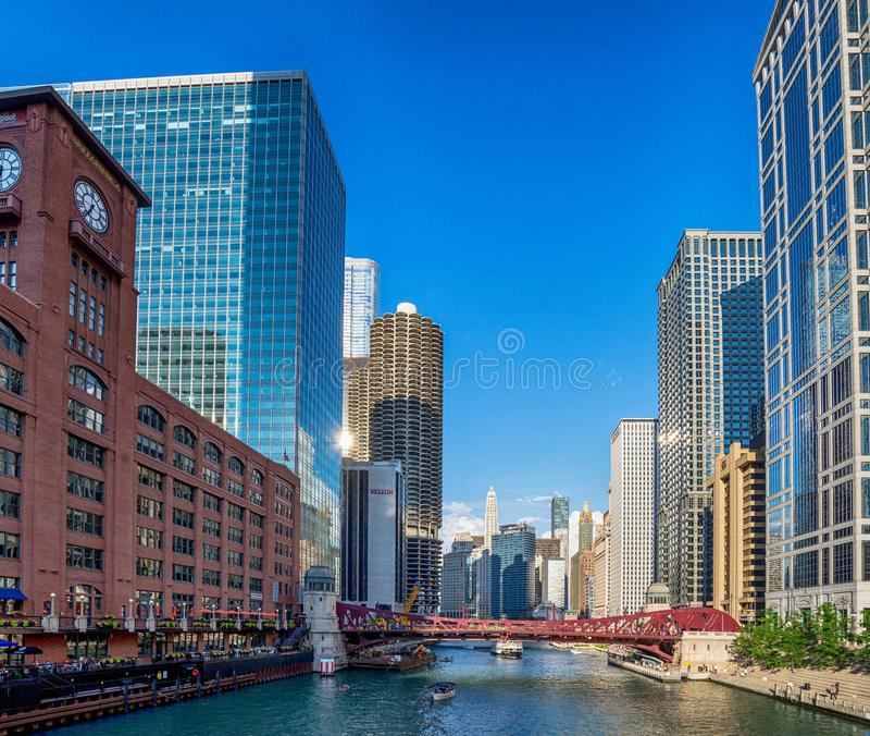 Chicago, IL Verenigde Staten - Augustl 09, 2017: Toeristenboot  stock afbeelding
