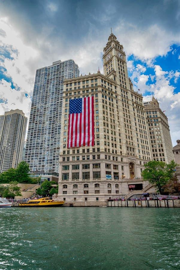 Chicago, IL Verenigde Staten - Julyl 03, 2017: Toeristenboot op Th stock foto's