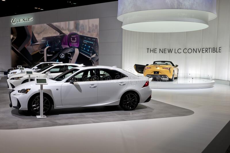 Lexus boot and cars exhibit at the annual International Auto-show royalty free stock image