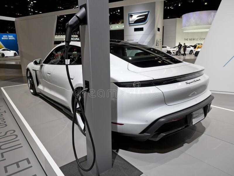 Porsche Taycan all-electric vehicle at the annual International Auto-show stock images