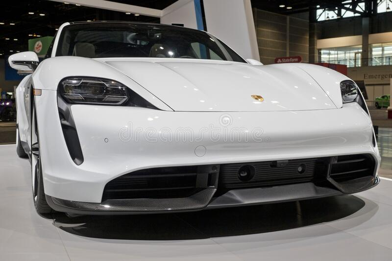 Porsche Taycan all-electric vehicle at the annual International Auto-show stock photos