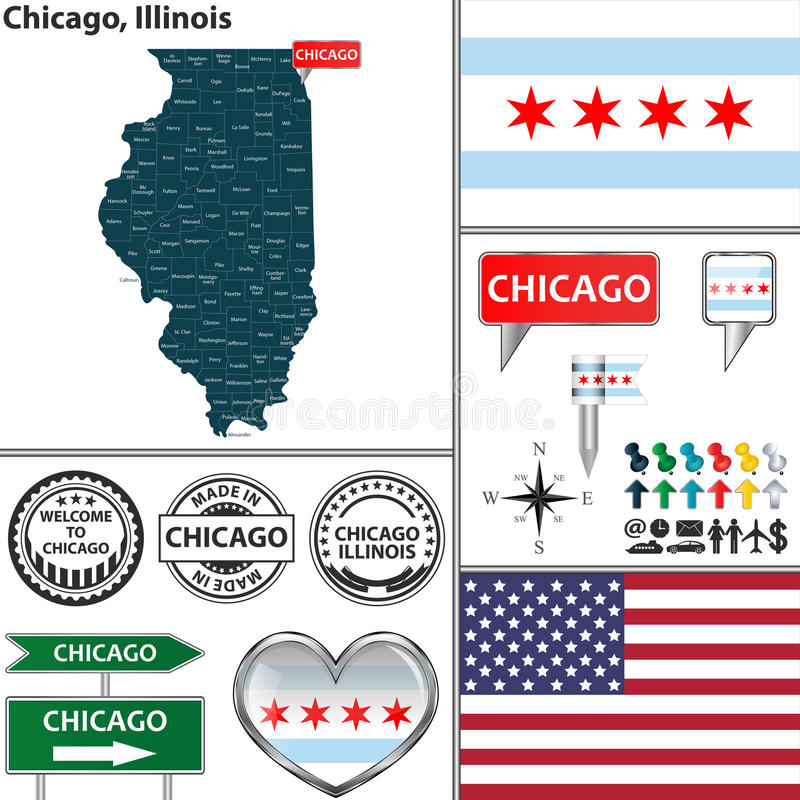 chicago illinois иллюстрация вектора