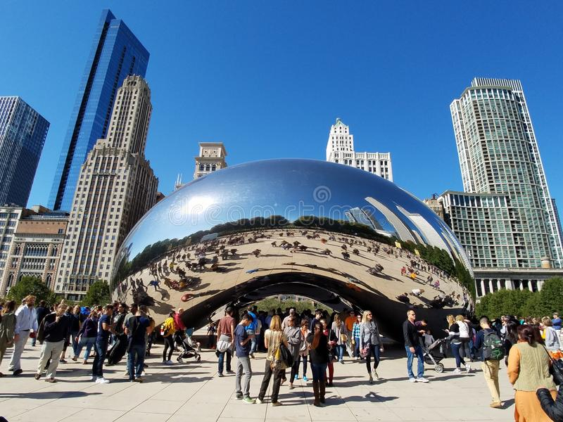Cloud Gate, Chicago. Chicago, Illinois 10-08-2016 Cloud Gate sculpture - the Bean - in ATT Plaza in Millennium Park on a clear, sunny fall day royalty free stock images
