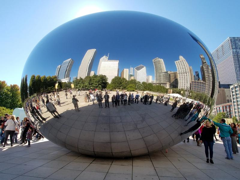 Cloud Gate, Chicago. Chicago, Illinois 10-08-2016 Cloud Gate sculpture - the Bean - in ATT Plaza in Millennium Park on a clear, sunny fall day stock photo