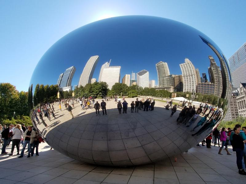 Cloud Gate, Chicago. Chicago, Illinois 10-08-2016 Cloud Gate sculpture - the Bean - in ATT Plaza in Millennium Park on a clear, sunny fall day royalty free stock image