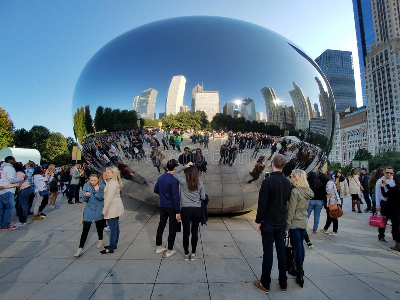 Cloud Gate, Chicago. Chicago, Illinois 10-08-2016 Cloud Gate sculpture - the Bean - in ATT Plaza in Millennium Park on a clear, sunny fall day stock photos