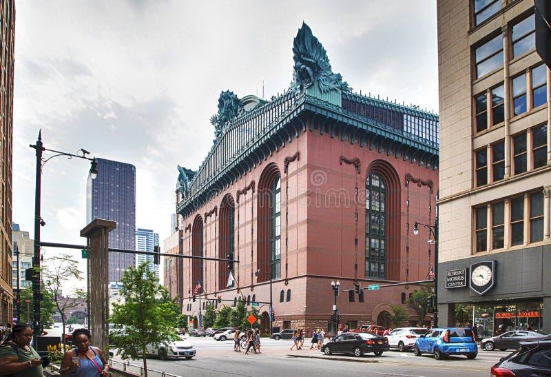 CHICAGO, ILLINOIS, de V.S. - 14 Juli, 2018: Harold Washington Library Center Building in Chicago Van de binnenstad royalty-vrije stock afbeelding