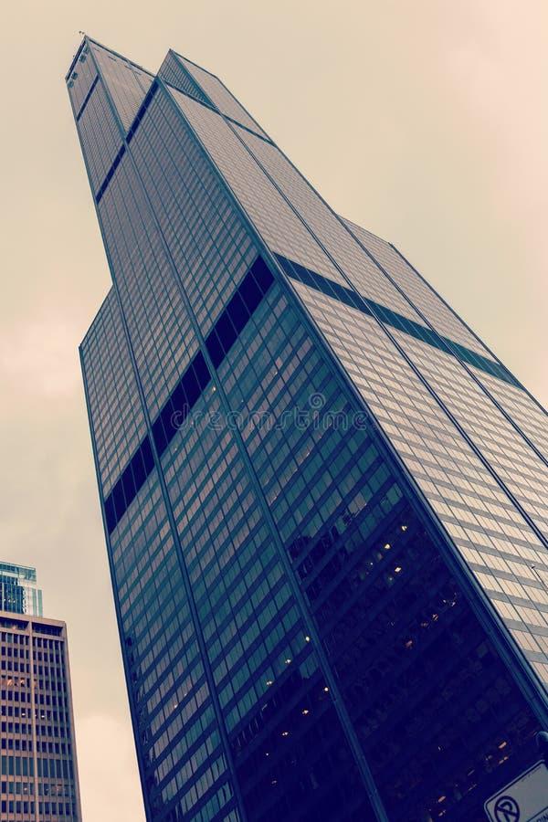CHICAGO, ILLINOIS, de V.S. - 30 Maart, 2016: Willis Tower schroeit vroeger Toren in Chicago Het is lange 442m stock foto's