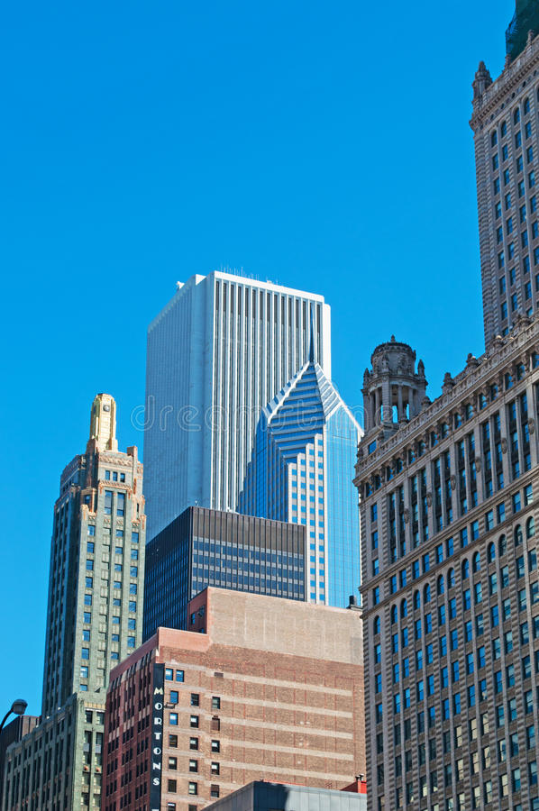 Chicago, Illinois: details of skyline and Two Prudential Plaza from a canal cruise on Chicago River on September 22, 2014. Chicago, Illinois, United States of royalty free stock photos