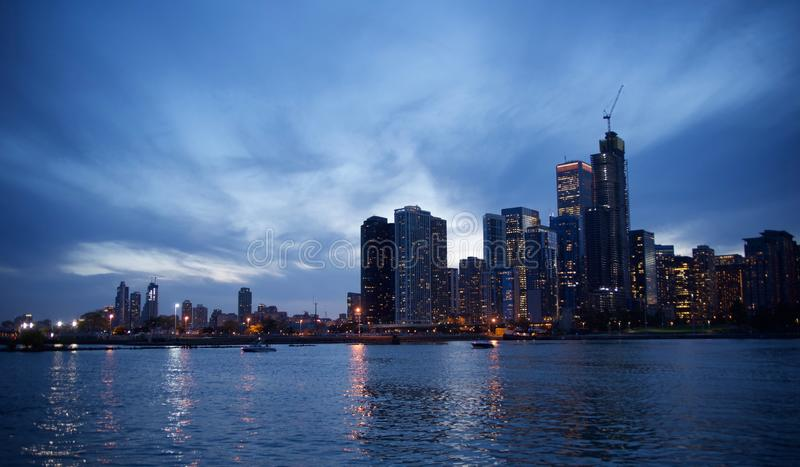 Chicago, Illinois Downtown at Dusk Skyline. Chicago, Illinois Downtown Skyline, formally the City of Chicago, is located on the shores of freshwater Lake stock photos