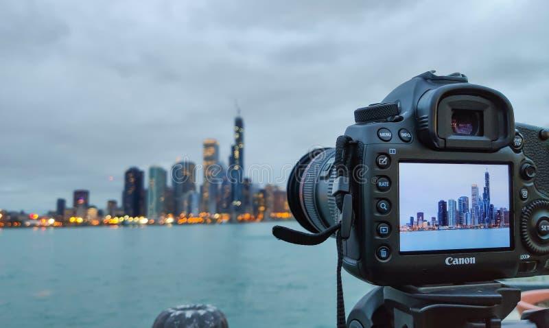 Chicago, Illinois EE.UU. Tiroteo de foto del horizonte por la tarde fotos de archivo
