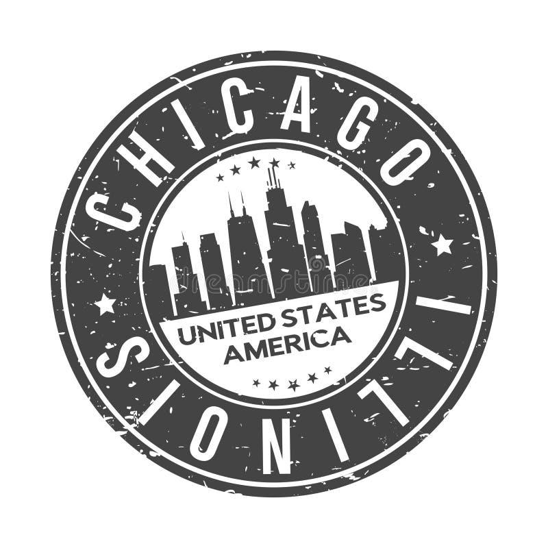 Chicago Illinois EUA em volta do turismo do curso do vetor do selo do projeto da skyline da cidade do botão ilustração royalty free