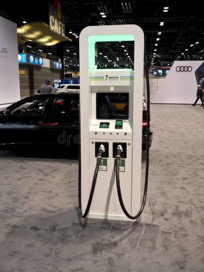 Charging station at the annual International Auto-show royalty free stock image