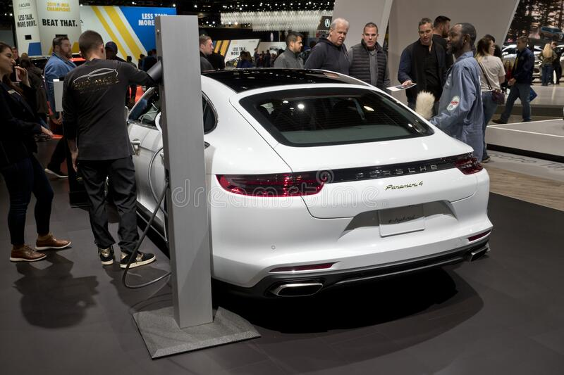 Porsche Panamera hybrid vehicle at the annual International Auto-show stock images