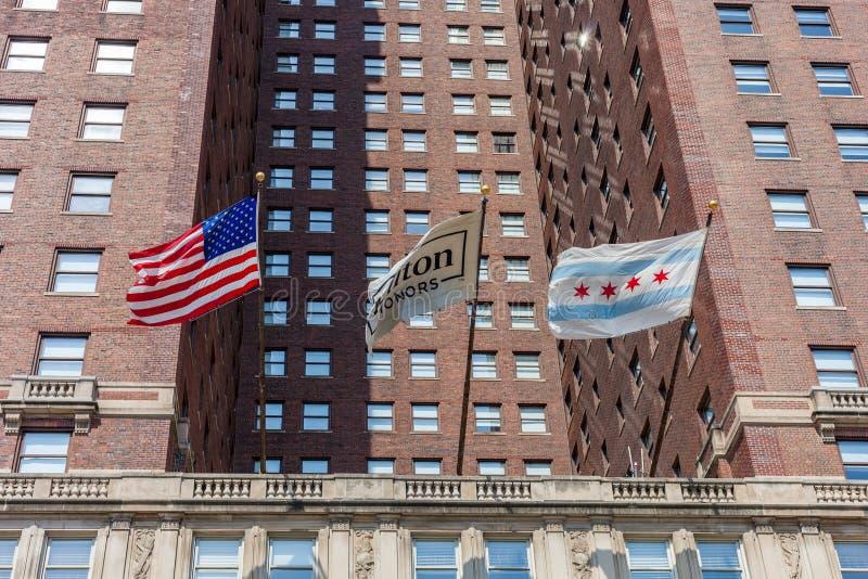 CHICAGO, ILLINOIS - JULI 10 2018 - Mening van Hilton Chicago H royalty-vrije stock foto