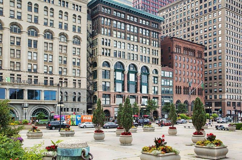 CHICAGO, ILLINOIS - 15 JULI, 2018: Straten van Chicago Van de binnenstad op 15 Juli, 2018 stock foto