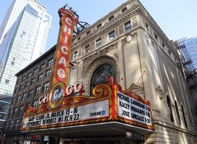 The famous Chicago Theater on State Street in Chicago, Illinois royalty free stock images
