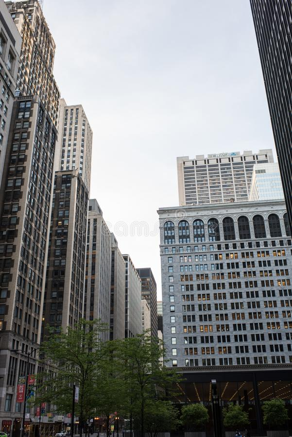 CHICAGO, ILLINOIS - May 25,2018 :View of Chicago downtown with people and skyscrapers, Illinois, USA royalty free stock photography