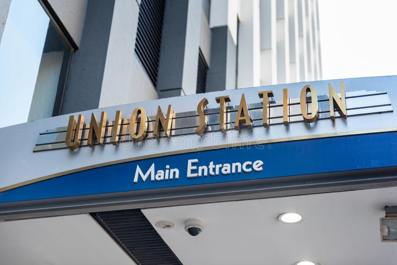 Union station entrance in chicago, Illinois stock image