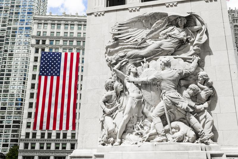 Chicago, Illinois. Sculpture `Defense` depicting Ensign George Ronan in a scene from the 1812 Battle of Fort Dearborn. Michigan Avenue or DuSable Bridge. Chicago stock photography