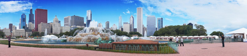 CHICAGO, ILLINOIS - SEPTEMBER 8: Buckingham Fountain on September 8, 2012 in Chicago, Illinois royalty free stock image