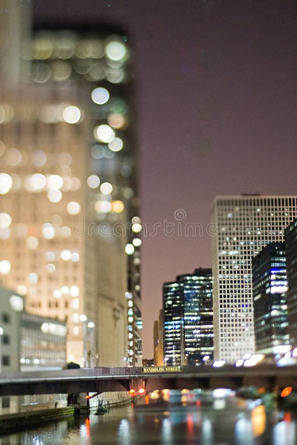 Chicago illinois tilt effect cityscape at night stock photos