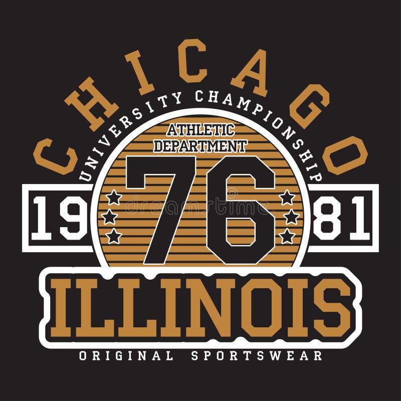 Chicago, Illinois typografia dla koszulki Oryginalny sportswear druk Sportowa odzieży typografia Grafika dla projekta odziewa ilustracji