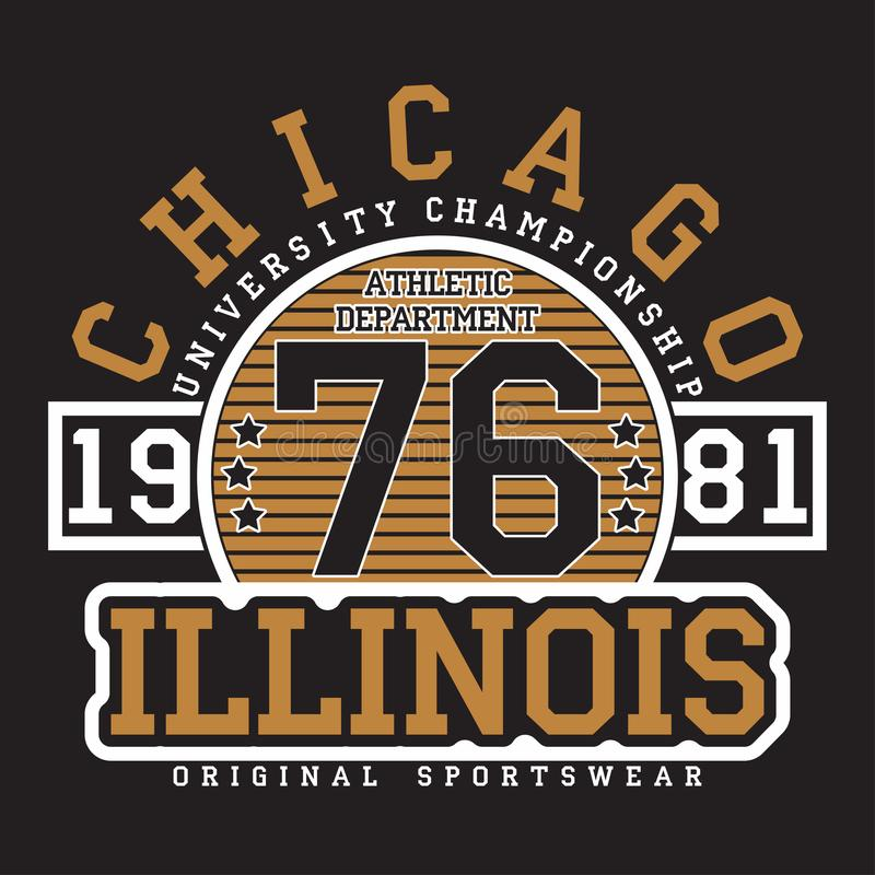Chicago, Illinois typography for t-shirt. Original sportswear print. Athletic apparel typography. Graphic for design clothes. stock illustration