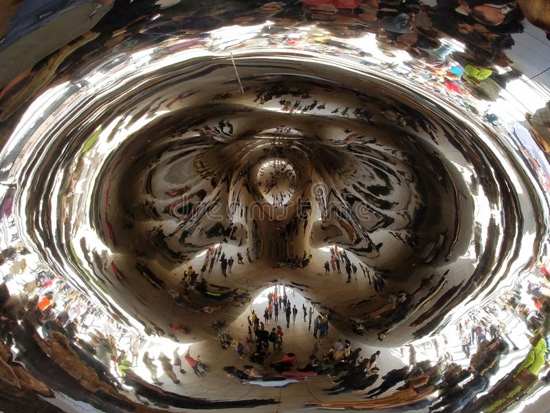 Cloud Gate, Chicago. Chicago, Illinois 10-08-2016 The underside of the Cloud Gate sculpture - the Bean - in ATT Plaza iin Millennium Park stock image