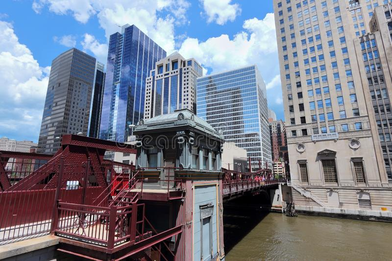 Chicago River bridge. Chicago in Illinois, United States. City view with Washington Street Bridge royalty free stock image