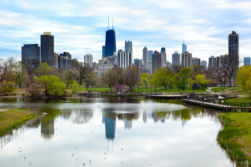 Chicago skyline from Lincoln Park royalty free stock photo